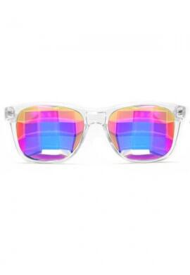 Clear Wayfarer Bug Eye Kaleidoscope Glasses