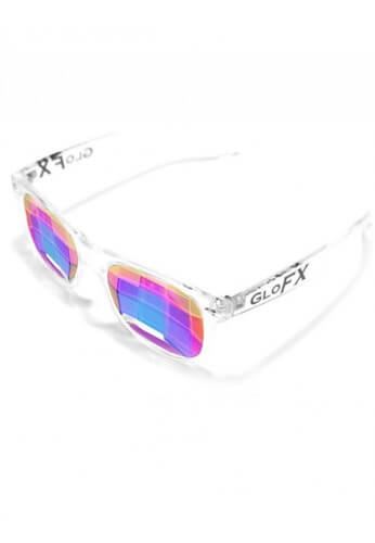 Clear Wayfarer Bug Eye Kaleidoscope Glasses
