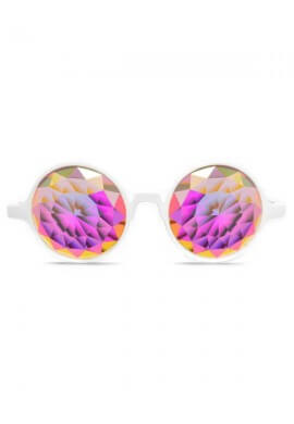 White Fractal Kaleidoscope Glasses