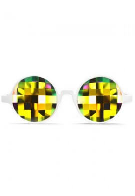 White Rainbow Bug Kaleidoscope Glasses