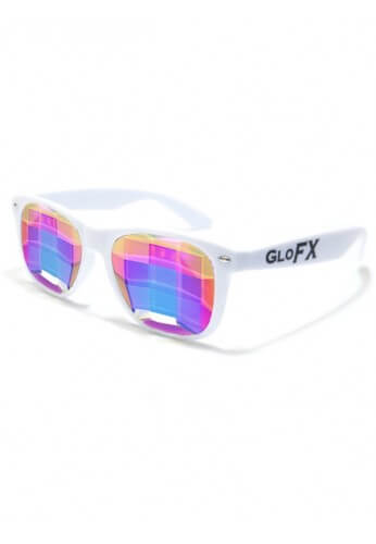 White Wayfarer Bug Eye Kaleidoscope Glasses
