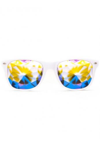 White Wayfarer Kaleidoscope Glasses