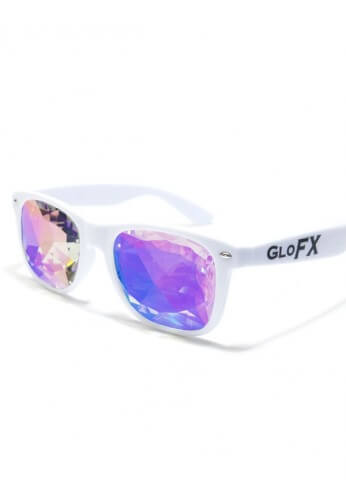 White Wayfarer Kaleidoscope Glasses