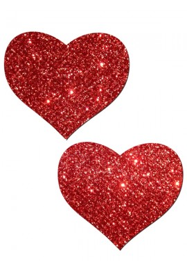 Red Glitter Hearts Pasties