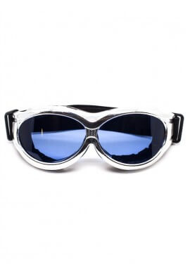 Chrome Padded Goggles with Blue Lenses