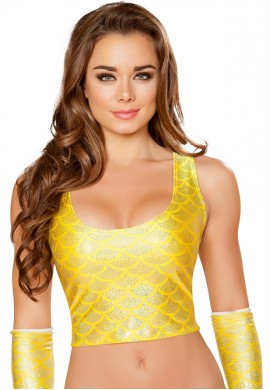 Yellow Mermaid Crop Top