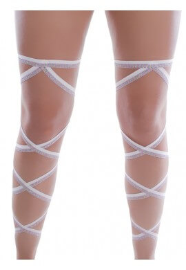 White and Rainbow Glitter Leg Wraps