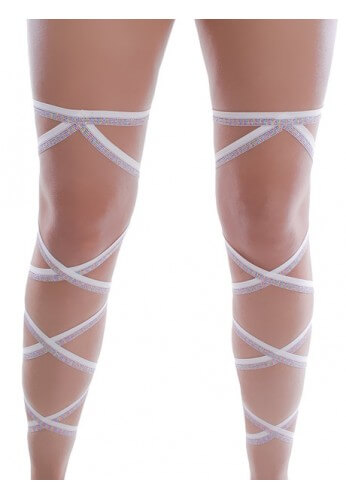 White and Rainbow Glitter Leg Wraps