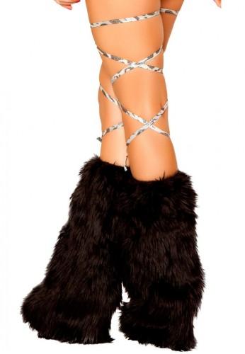 Silver Leopard Print Leg Wraps