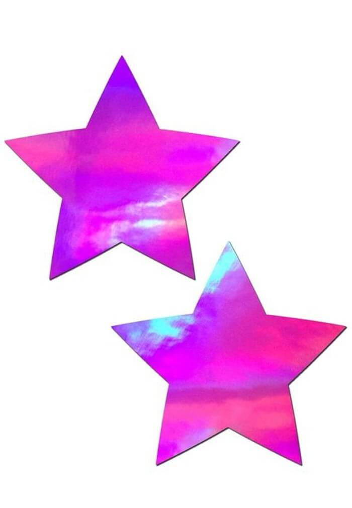 Pink Holographic Star Pasties Nipple Covers From Raveready