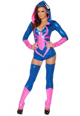 Blue and Pink Spider Romper Costume