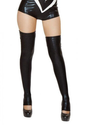 Black Wet Look Thigh Highs