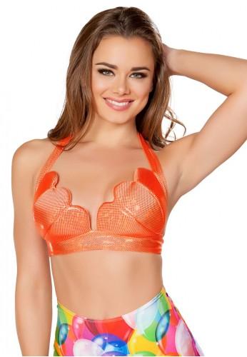 Orange Hologram Mermaid Top