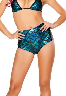 Turquoise High Waisted Mermaid Shorts