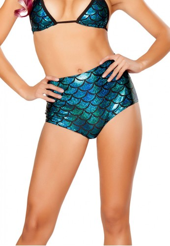 Turquoise High Waisted Mermaid Shorts
