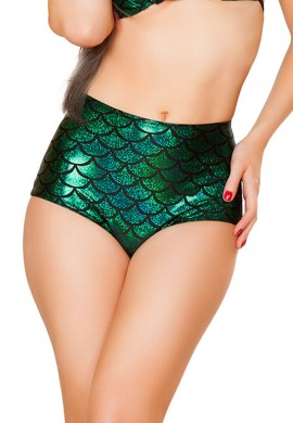 Green High Waisted Mermaid Shorts