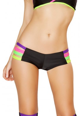 Black Rainbow Strappy Hot Pants