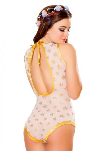White and Gold Star Sequin Mesh Bodysuit