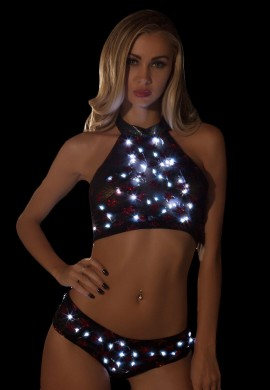 Black and Red Light Up Star Shorts