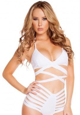White Halter Wrap Top