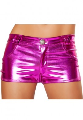 Pink Metallic Hot Pant Shorts