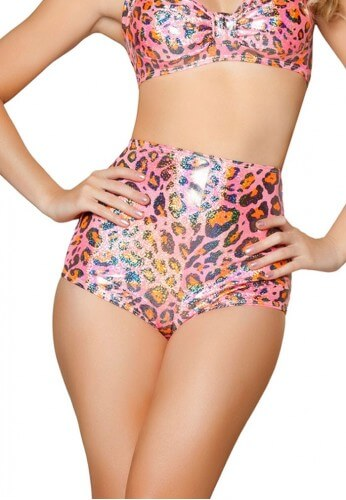Pink Leopard High Waisted Shorts