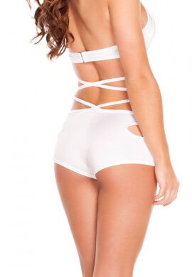 White Cut Out Shorts
