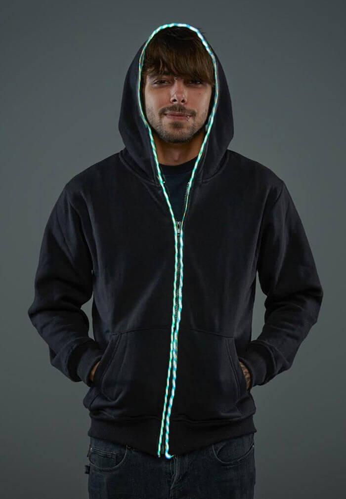 Light Up EL Wire Hoodie | Flowing Multicolored EL Wire Hoodie