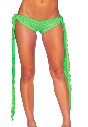 Neon Green Low Rise Tie Shorts