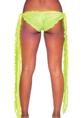 Neon Yellow Low Rise Tie Shorts
