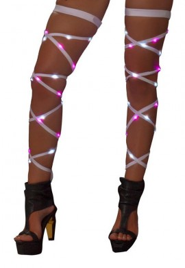 White and Pink Light Up Leg Wraps