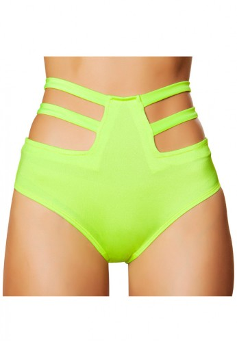 Lime High Waisted Strapped Shorts