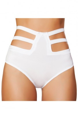 White High Waisted Strapped Shorts
