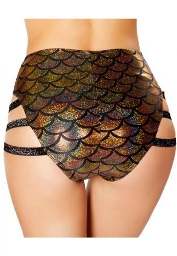 Gold Mermaid High Waist Strapped Shorts