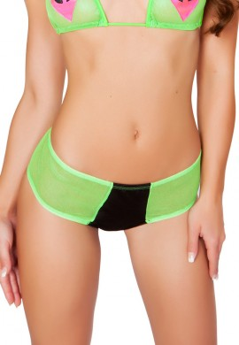 Black and Lime Two Tone Mesh Booty Shorts