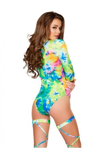 Tie Dye Long Sleeved Lace Up Romper