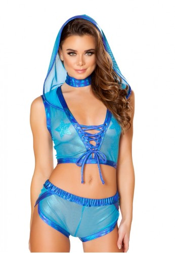 Blue Spectrum Lace-Up Hooded Mesh Top