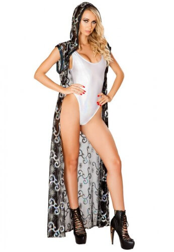 Black with Silver Sequins Duster