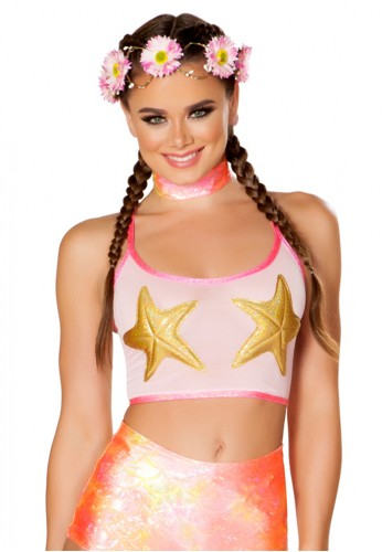 Pink and Gold Star Mesh Tank