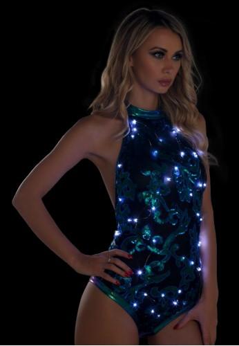 Blue Green Light-Up Sequin Mesh Bodysuit