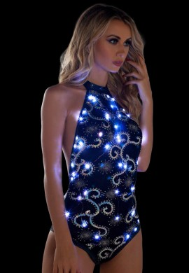 Black and Silver Light-Up Sequin Mesh Bodysuit
