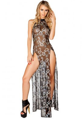 Black and Silver Sequin Mesh Gown