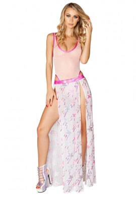 Pink Shooting Star Sequin Gypsy Skirt