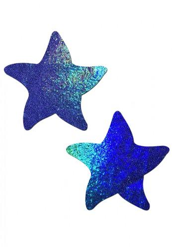 Blue Liquid Hologram Sea Star Nipple Pasties