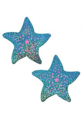Sea Foam Hologram Sea Star Nipple Pasties