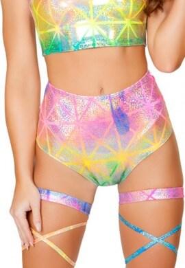 High Waist Diamond Hologram Shorts