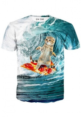 Surfing Kittie T-Shirt