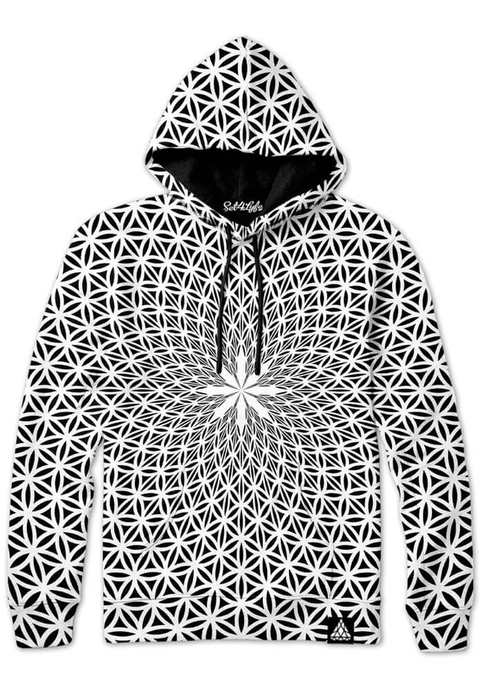 White Flower Of Life Hoodie Sacred Geometry Hooded