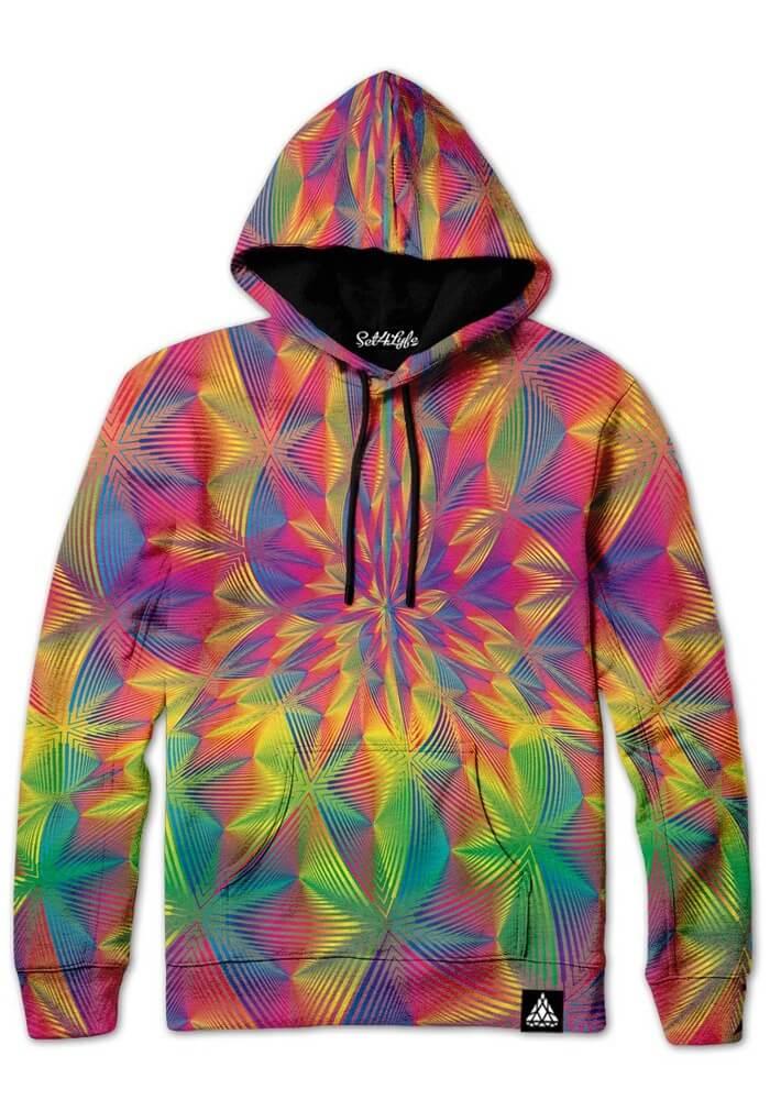 Spectronic Fractal Hoodie Neon Rainbow Festival Fashion