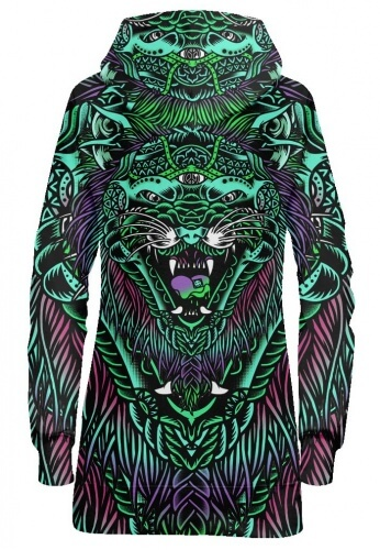Acid Tiger Hoodie Dress